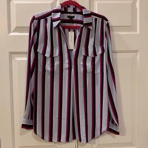 NWT Ann Taylor Stripe Blouse Size Large